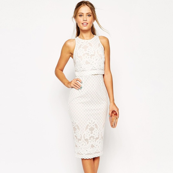 6bc02f26265 ASOS Dresses   Skirts - ASOS lace overlay faux crop top pencil dress